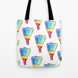 Paint Your Life With Your Colors nursery illustration colorful rainbow paint brush positive quote Tote Bag