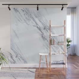 White Marble with Classic Black Veins Wall Mural