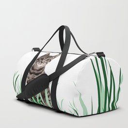Tiger Cat green Grass with flower Duffle Bag
