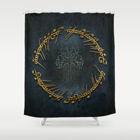 the lord of the rings Shower Curtains featuring The Lord Of The Rings Logo by Janismarika