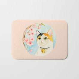 """""""Hanami"""" - Calico Cat and Cherry Blossom Bath Mat"""