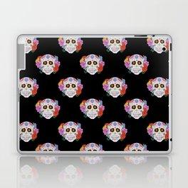 Sugar Skull with Flowers on Black Laptop & iPad Skin