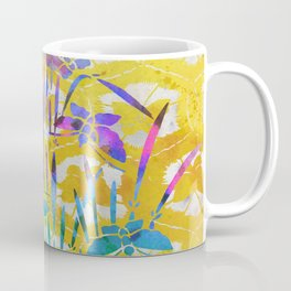 Spring Batik Butterfly Stencil Design - Lemon Yellow | Chinoiserie Chic Watercolor  Coffee Mug