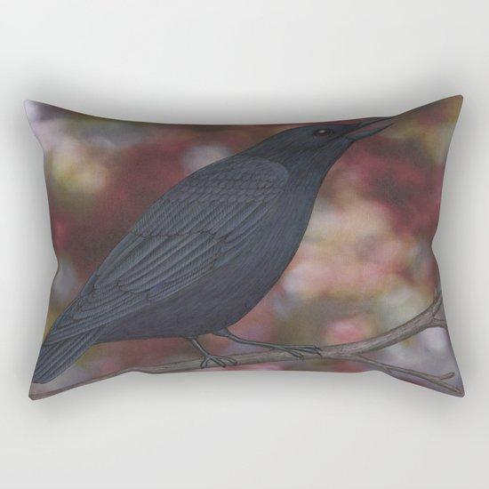 crow on a branch bokeh Rectangular Pillow