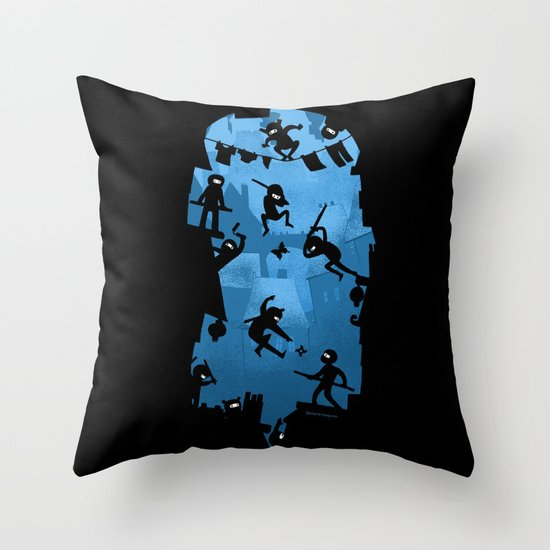 Ninja Kick Ass Clash Throw Pillow