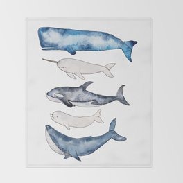 Watercolor orca whale, spermwhale, humpback, narwhal, beluga whales Throw Blanket
