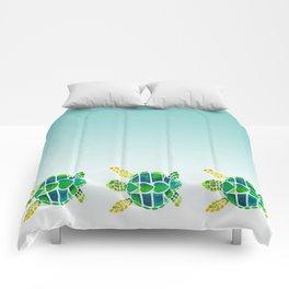 Swimming Baby Sea Turtles Comforters