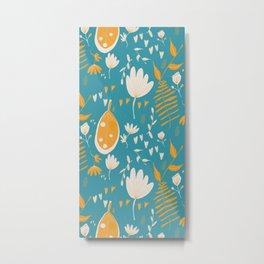 Mod Floral Blue Yellow Metal Print