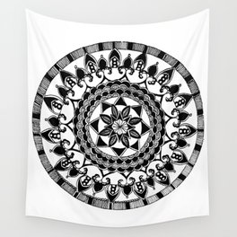 Black and White Circular Hand-Drawn Mandala Wall Tapestry