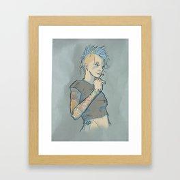 Mohawk Punk Rock Girl Framed Art Print