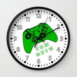 Video Game White and Green Wall Clock