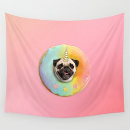Unicorn Pug Pastel Donut Wall Tapestry