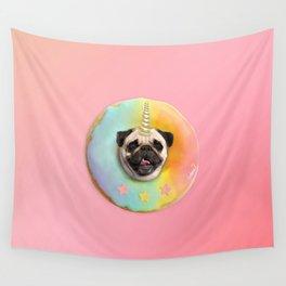 Unicorn Pug Pastel Donut Wall Tapestry