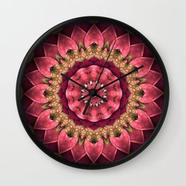 Maroon Fractal Wall Clock