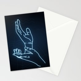 Blue Neon Meanwhile Stationery Cards