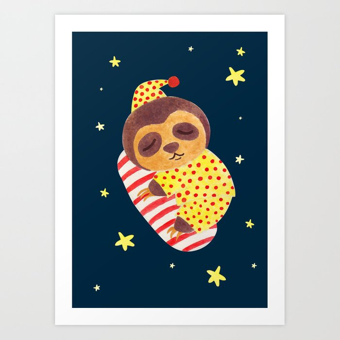Sleeping Like a Sloth Art Print