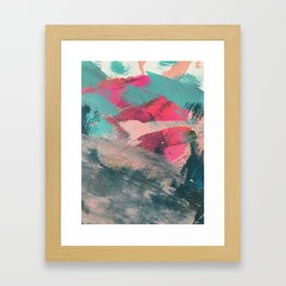 Sugar Rush [3]: a colorful, abstract mixed media piece in pinks, blues, and gold Framed Art Print
