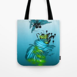 Fashion model dancing the night away in turquoise Tote Bag
