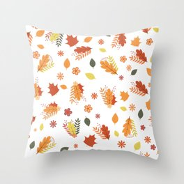 Autumn seamless pattern. Colorful leaves,  flowers,  and berries. Fall theme. Throw Pillow