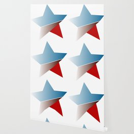 Ombre red white and blue star Wallpaper
