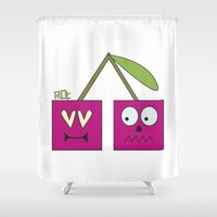 cherry Shower Curtains featuring CHERRY by Riot Clothing