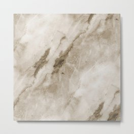 Classic Brown White Marble Rock Real Stone Metal Print