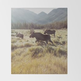 Three Meadow Moose Throw Blanket