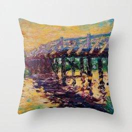 'Bridge by the Sea' coastal landscape painting by Emil Nolde Throw Pillow