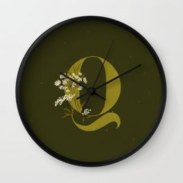 Q for Queen Anne's Lace Wall Clock