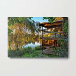 Small Lonely House at the Forest Lake Metal Print