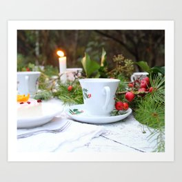 Outdoor Christmas Table Art Print