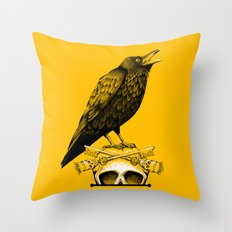 Black Crow, Skull and Cross Keys Throw Pillow