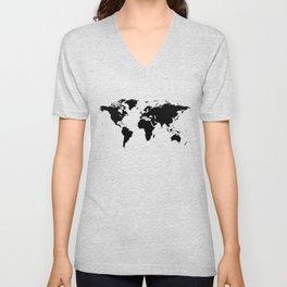 Black Ink World Map Unisex V-Neck