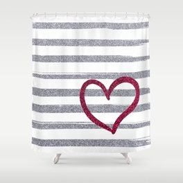 Red Heart on Shiny Silver Stripes Shower Curtain