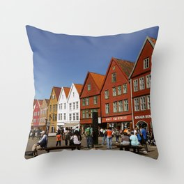 Bergen Bryggen Throw Pillow