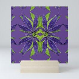 Marijuana Leaves Ultra Violet Pattern Mini Art Print