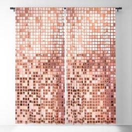 Pink rose gold square mosaic tiles Blackout Curtain
