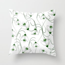 Snowdrops flower spring pattern Throw Pillow