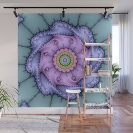 Magical zoomed fractal image in shiny pastel colours Wall Mural
