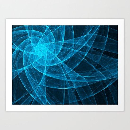 Tulles Star Computer Art in Blue Art Print