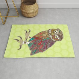little brother owl chartreuse dot Rug