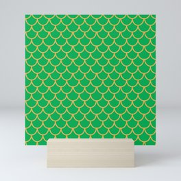 Mermaid Scales Pattern in Green Mini Art Print