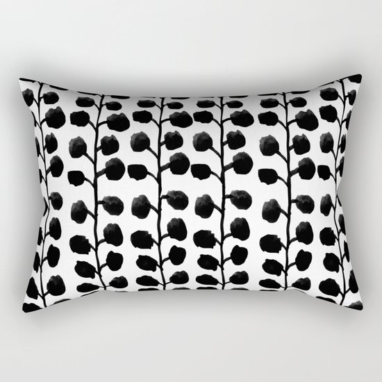 Black and white minimal modern petals leaves bloom spring summer monochromatic urban dorm decor Rectangular Pillow