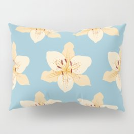 Day Lily Illustrative Pattern on Light Blue Pillow Sham