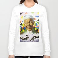 mandela Long Sleeve T-shirts featuring Nelson Mandela by Bronsolo Illustration