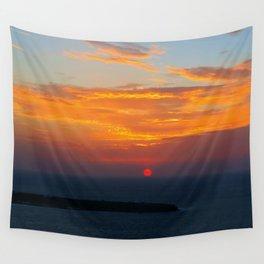 Sunset in Oia Santorini cv Wall Tapestry