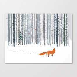 Fox in the white snow winter forest illustration Canvas Print