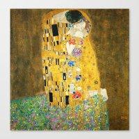 gustav klimt Canvas Prints featuring Gustav Klimt The Kiss by Art Gallery
