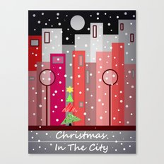 City Christmas Snowfall Canvas Print