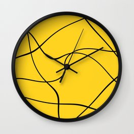 """Abstract lines"" - Black on yellow Wall Clock"